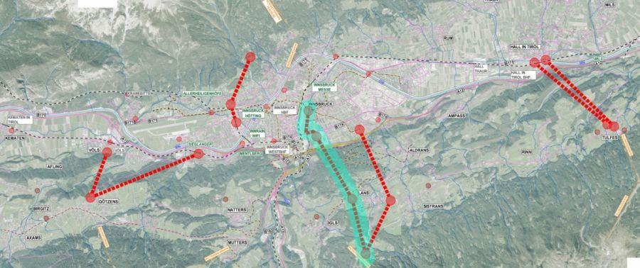 Raum Innsbruck: Machbarkeitsstudie zu Seilbahnen als öffentliche Verkehrsmittel